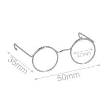 Bril voor knuffels metaal 5 cm silver