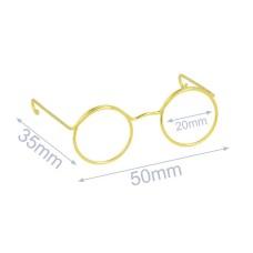 Bril voor knuffels metaal 5 cm goud