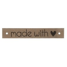 Leren label Made with love 886