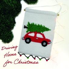 Wandhanger Kerst Auto (Haakpakket)